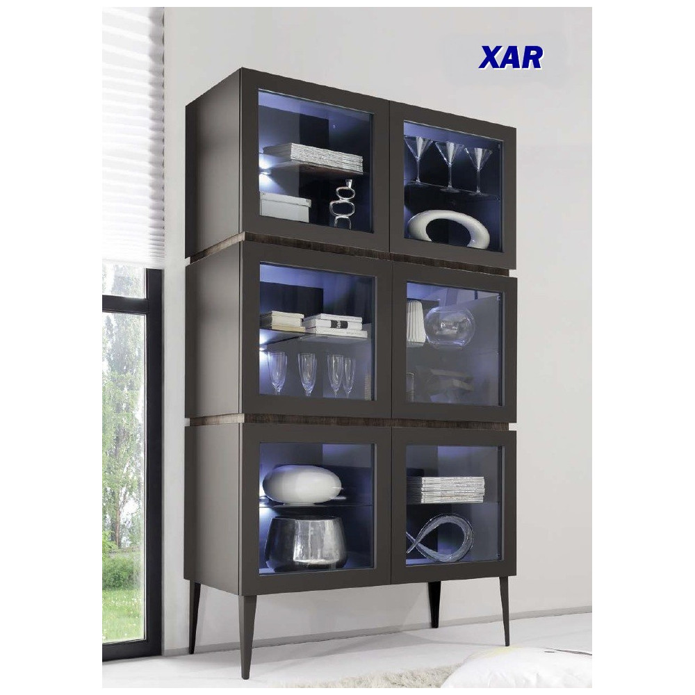 bahut vaisselier design xar 6 portes vitr es sur pieds. Black Bedroom Furniture Sets. Home Design Ideas