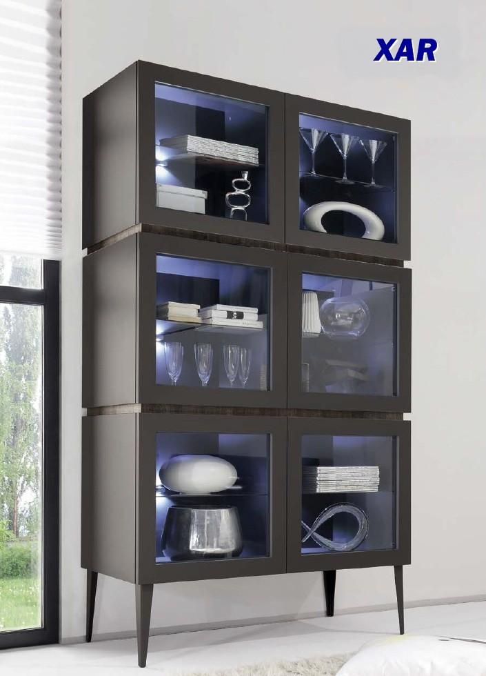 bahut vaisselier design xar 6 portes vitr es sur pieds. Black Bedroom Furniture Sets. Home Design Ideas
