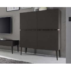 Bahut vaisselier design XAR 4 Portes gris mat