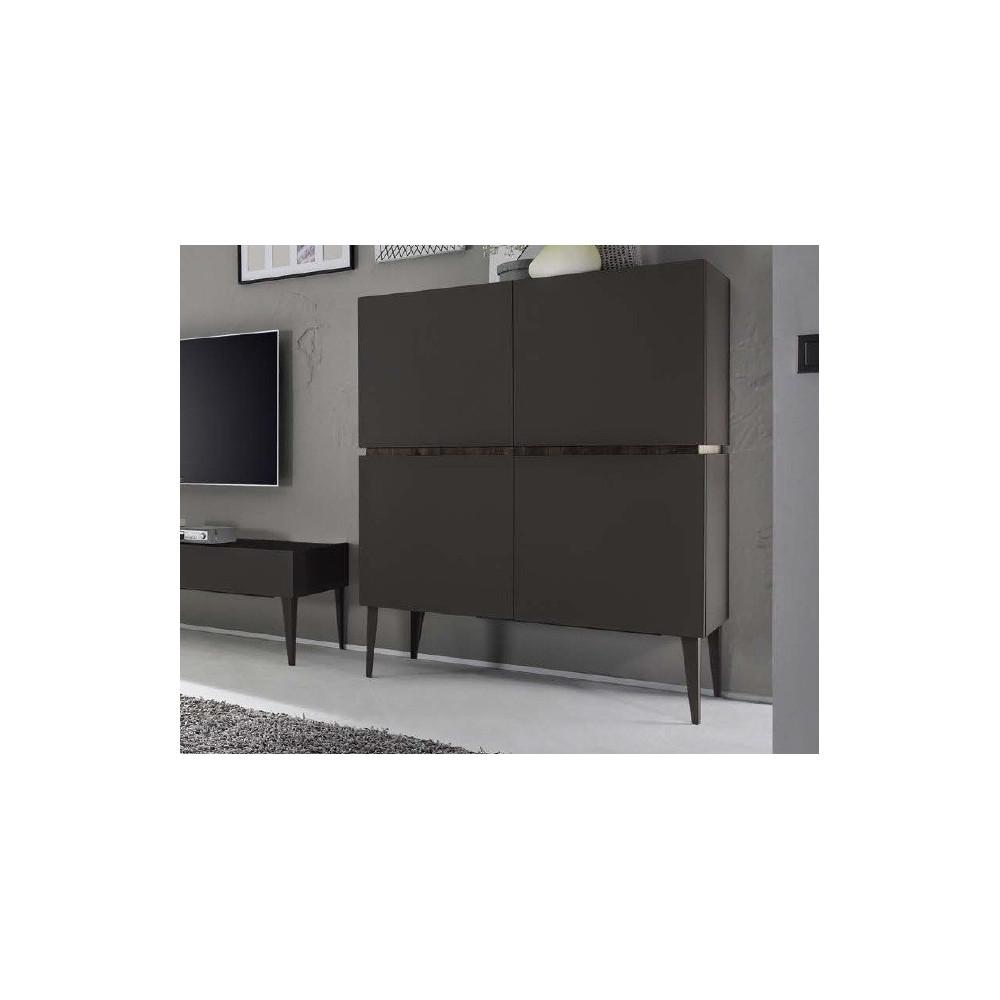 Bahut vaisselier design xar 4 portes gris mat for Bahut vaisselier