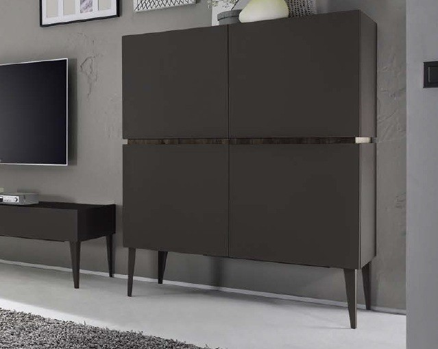bahut vaisselier design xar 4 portes gris mat. Black Bedroom Furniture Sets. Home Design Ideas