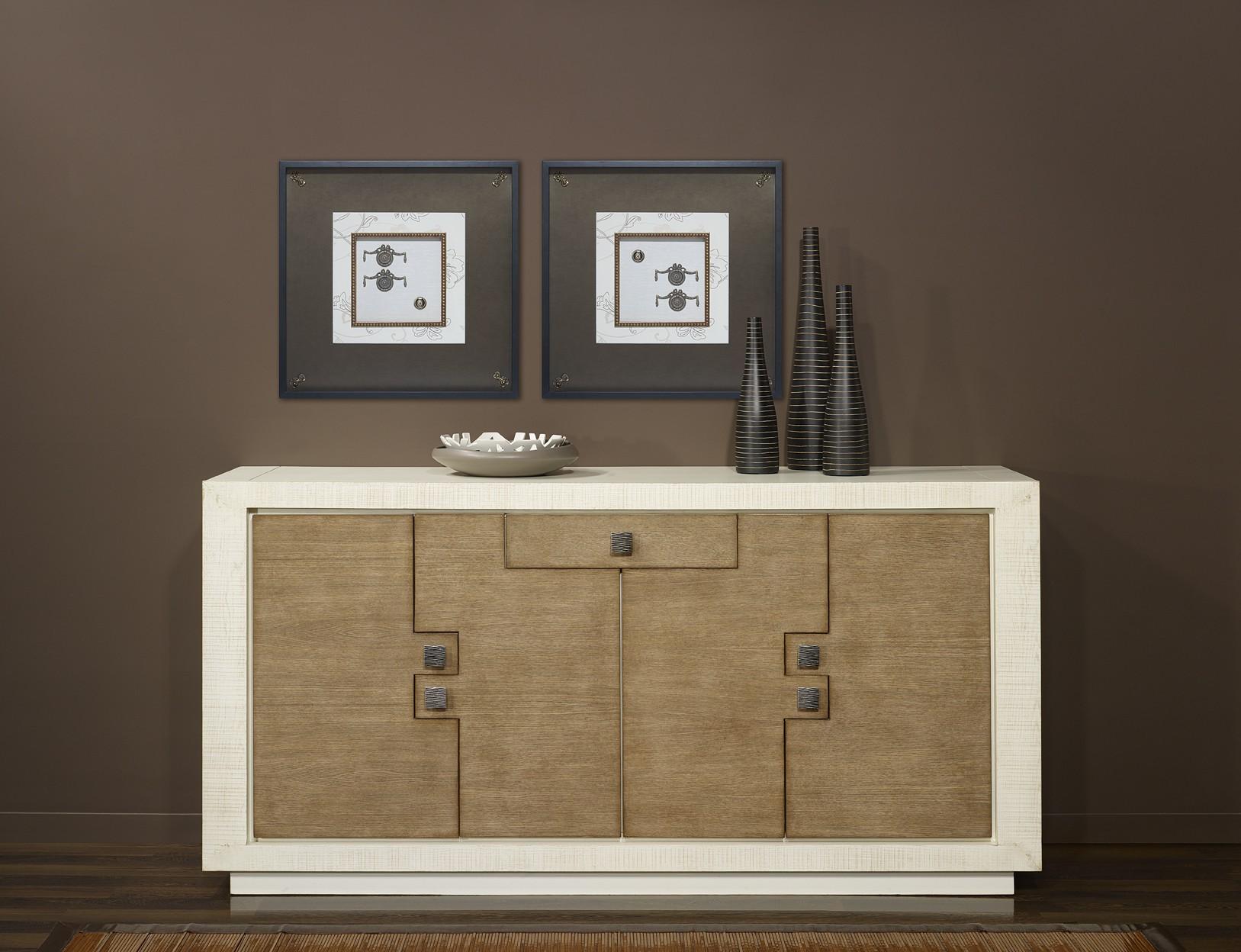 bahut puzzle bas 4 portes 1 tiroir ch ne massif blanc et ch ne. Black Bedroom Furniture Sets. Home Design Ideas