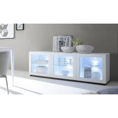 Bahut vaisselier design XAR 3 portes vitrées blanc