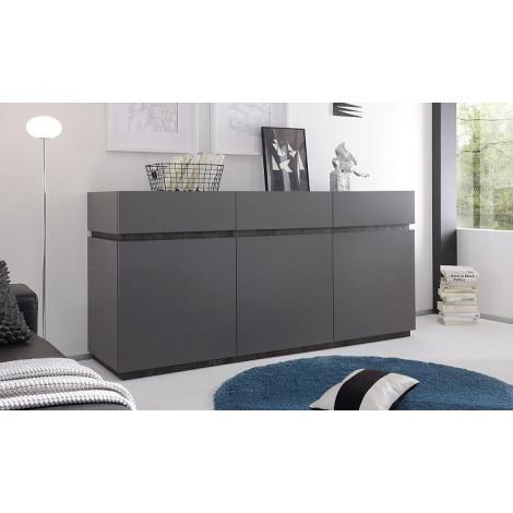 bahut bas design xar 3 portes 3 tiroirs gris mat. Black Bedroom Furniture Sets. Home Design Ideas