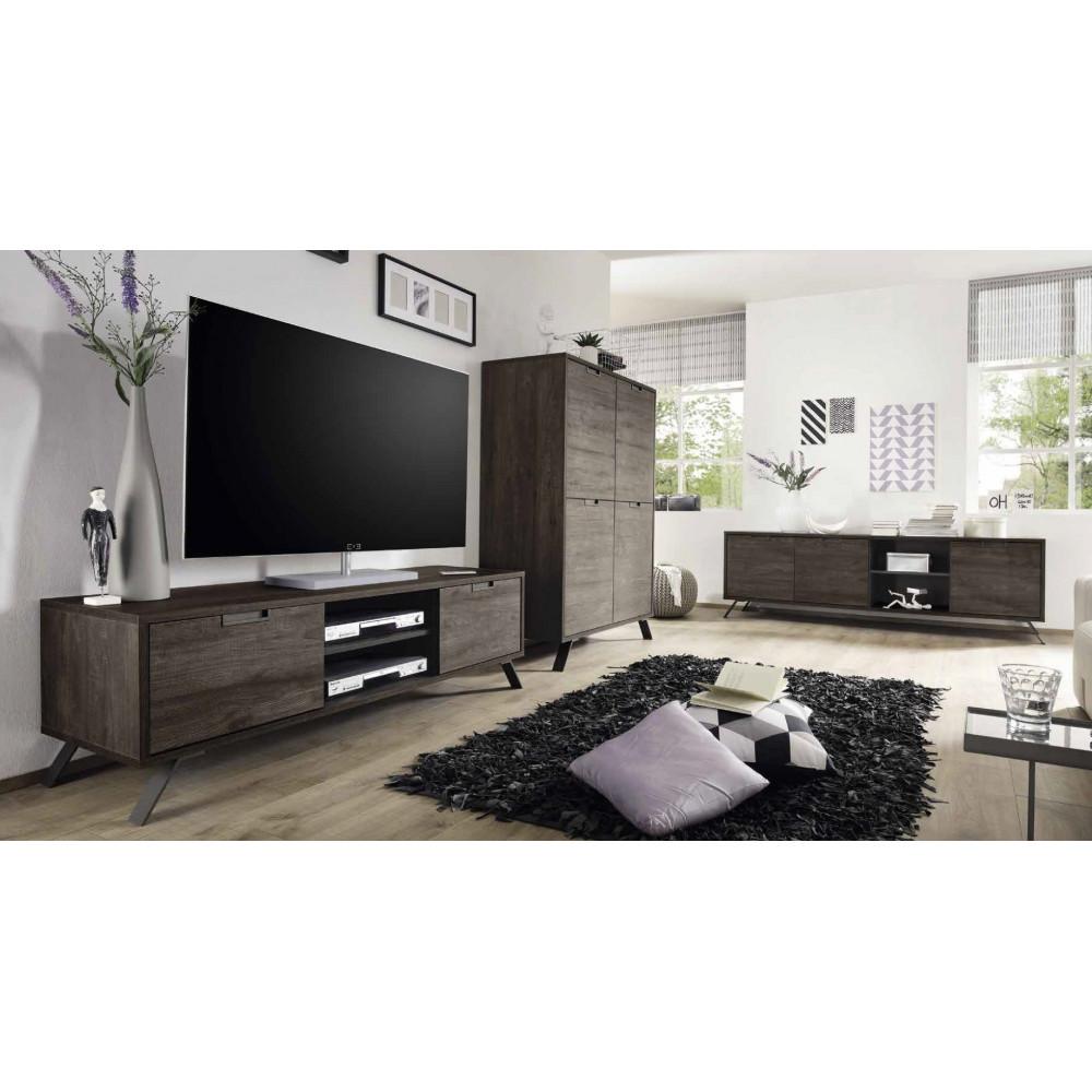 bahut haut syracuse 4 portes teine weng 4 pieds m tal. Black Bedroom Furniture Sets. Home Design Ideas