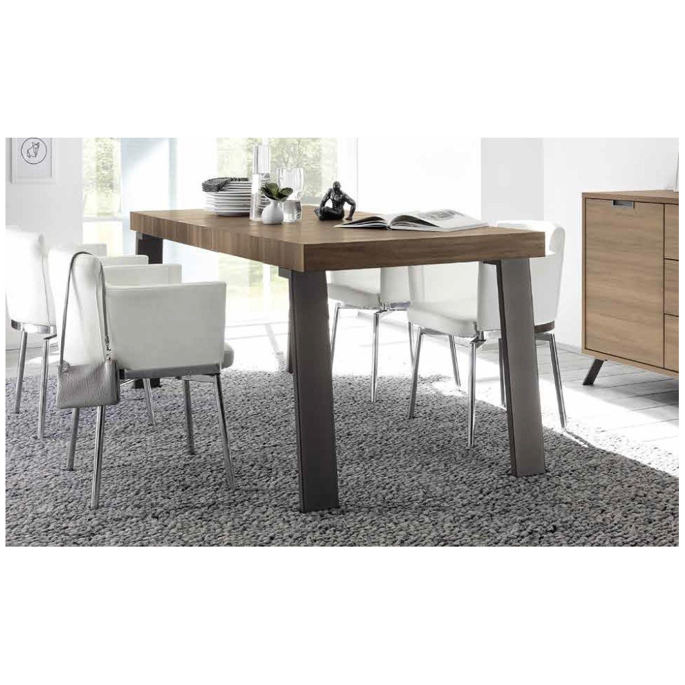 Table de repas messina 2 dimensions teinte noyer - Dimensions table a manger ...