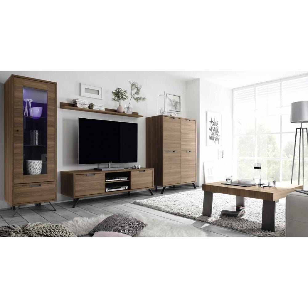 Meuble tv messina 2 portes 1 niche noyer 4 pieds m tal for Meuble tv 2 portes