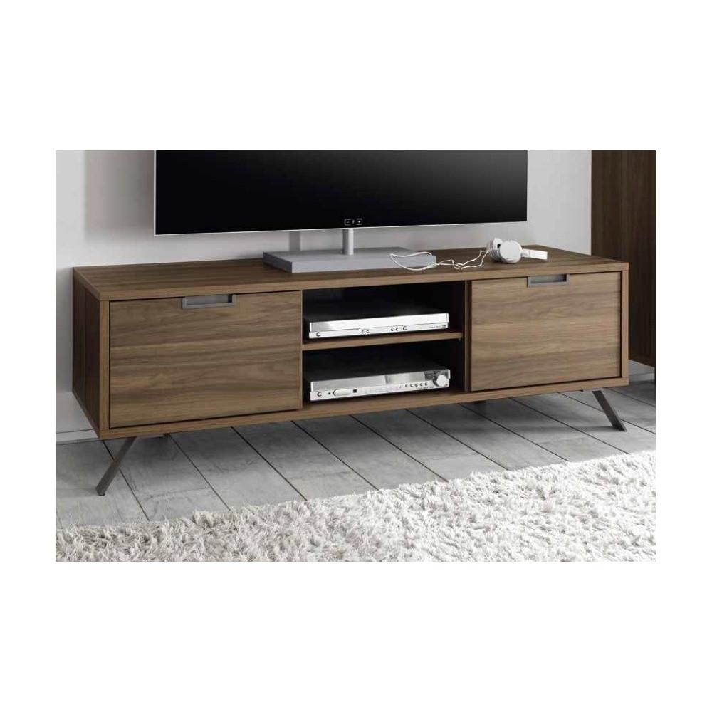 meuble tv messina 2 portes 1 niche noyer 4 pieds m tal. Black Bedroom Furniture Sets. Home Design Ideas