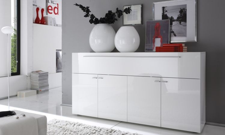 bahut moderne blanc 160 cm a prix discount. Black Bedroom Furniture Sets. Home Design Ideas