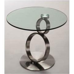 NERON Table  Basse Verre et acier chromé brossé