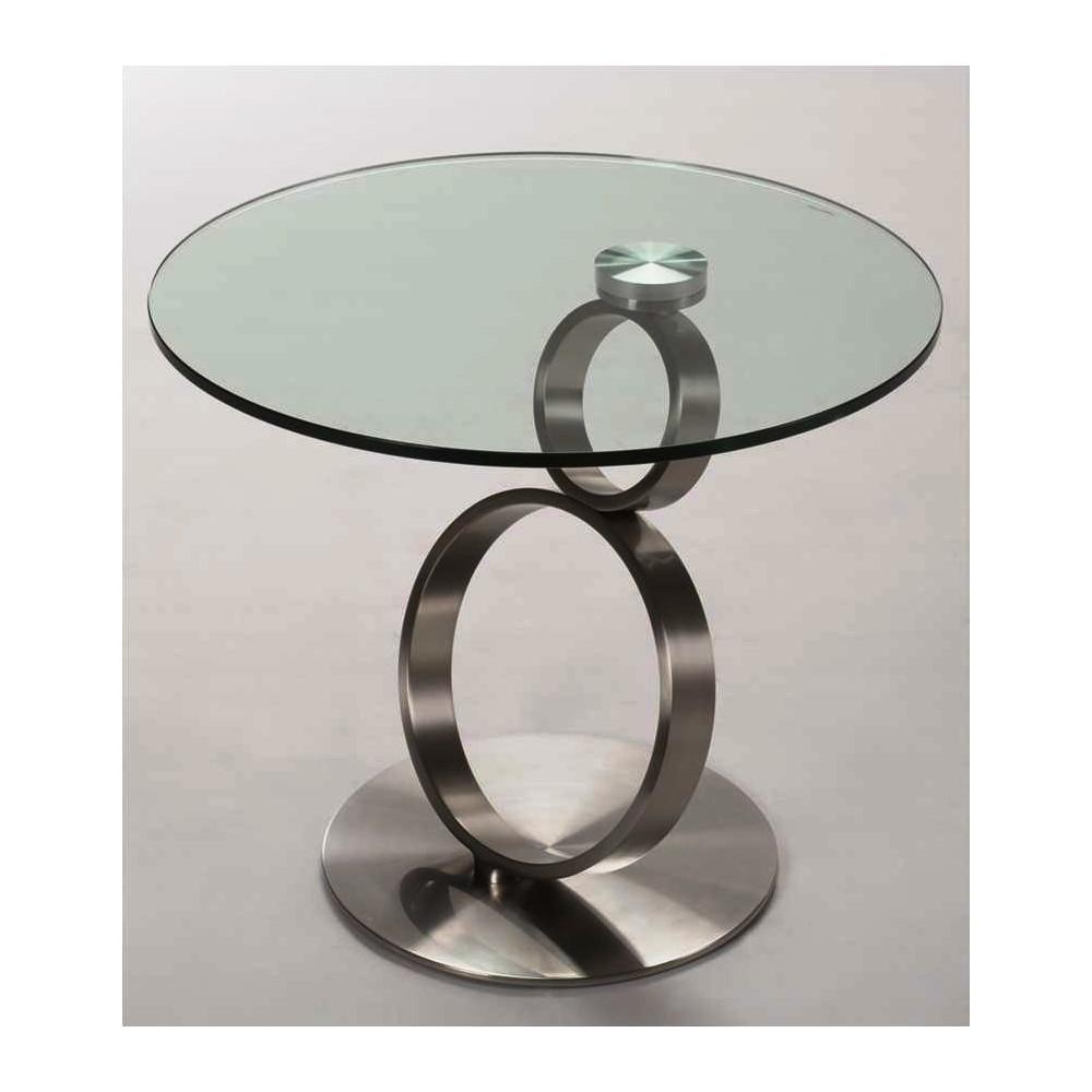Table basse neo verre et acier chrom bross - Table basse acier et verre ...