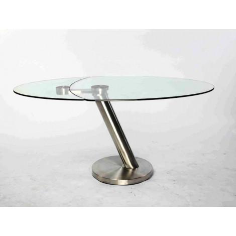 Table basse city verre et acier chrom bross - Table basse acier verre ...