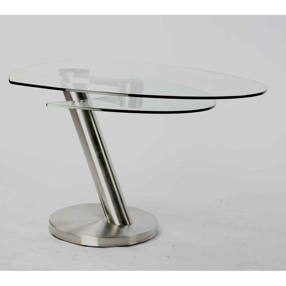 Table basse city verre et acier chrom bross - Table basse verre acier ...