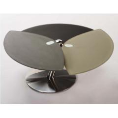 Table Basse Verre taupe et acier chromé poli STYLE