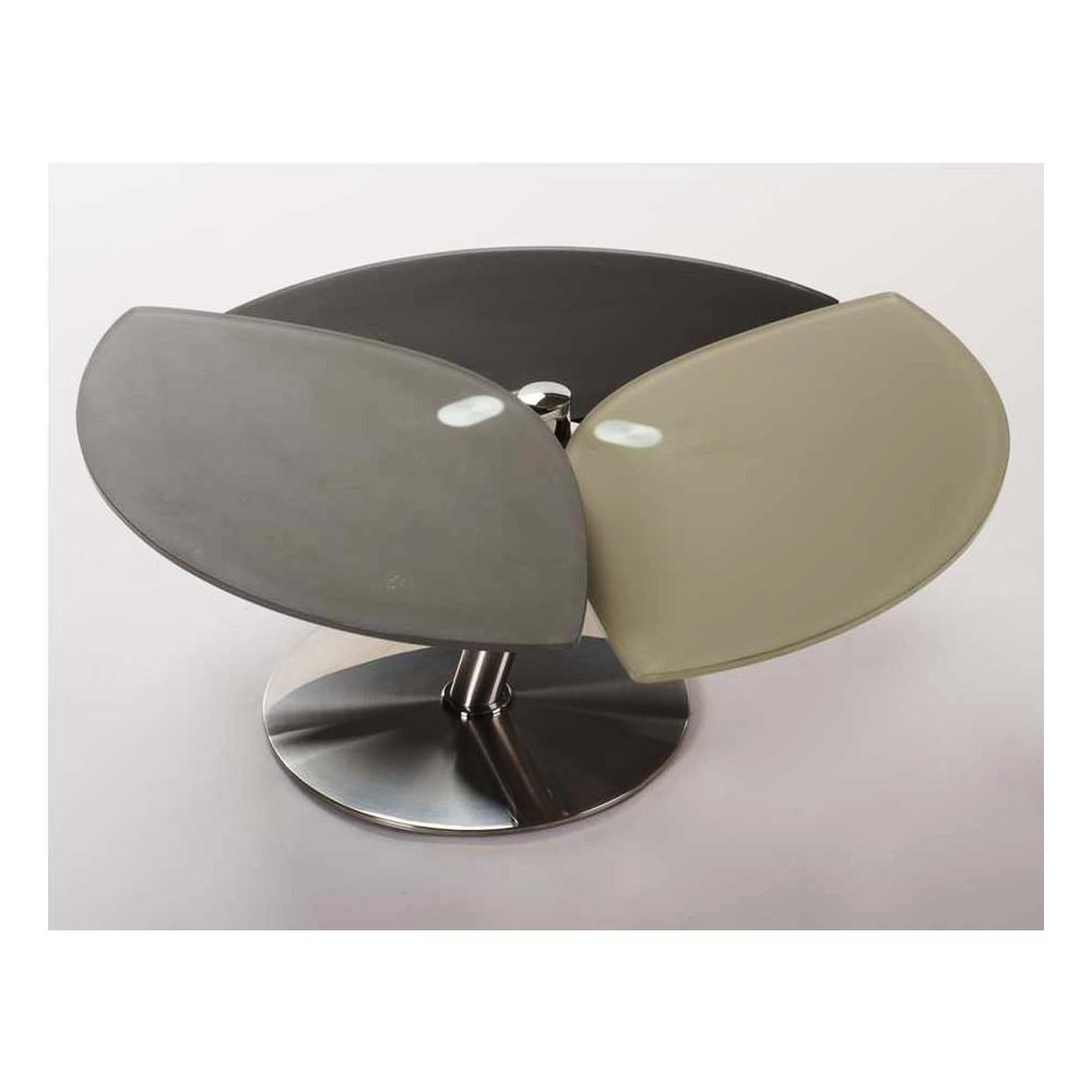 Table basse stylea verre et acier chrom poli - Table basse acier verre ...