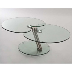 ORTEGA Table  Basse  Verre et acier chromé brossé