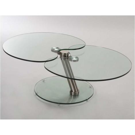 Table  Basse OMÉGA Verre et acier chromé brossé