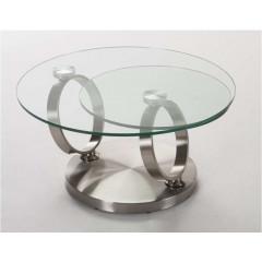 Table  Basse Verre et acier chromé brossé ARION