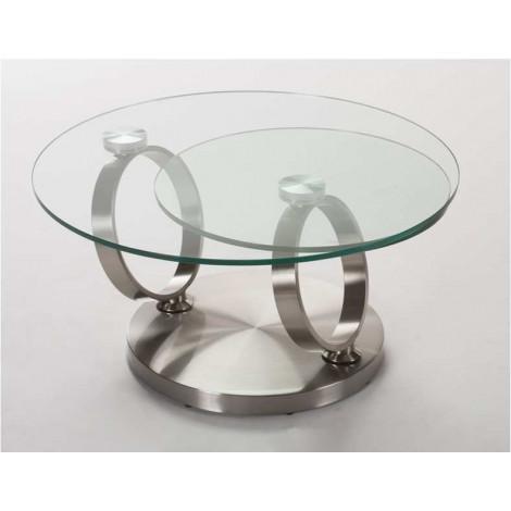 Table  Basse ORION Verre et acier chromé brossé