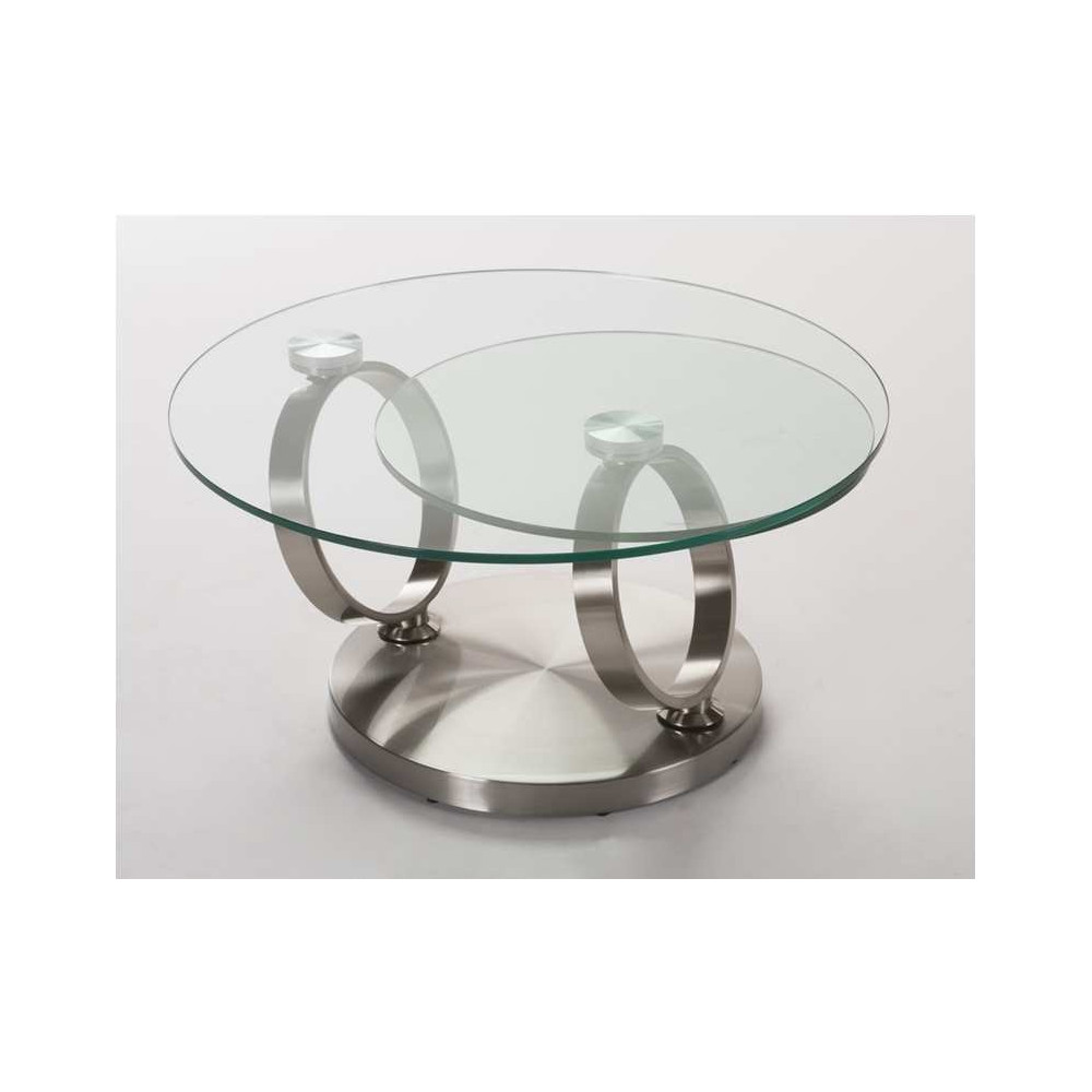 Table basse orion verre et acier chrom bross for Table en verre de salon