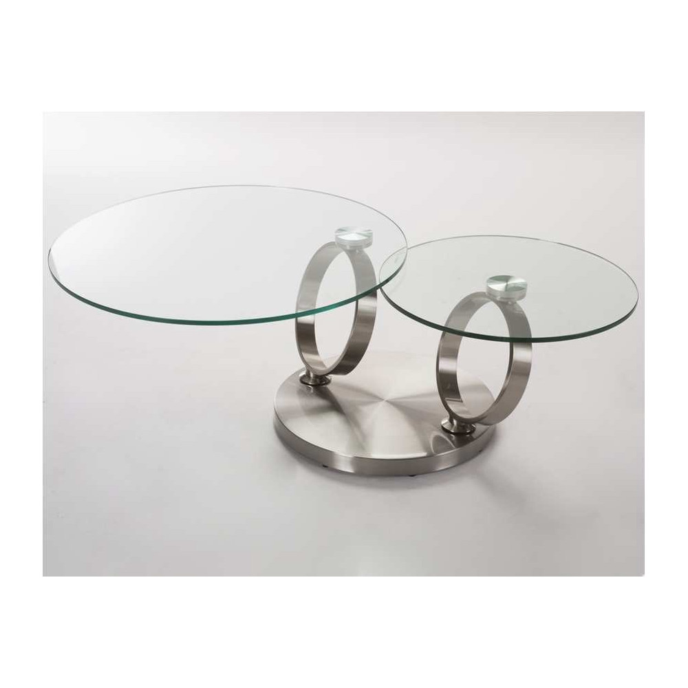 table basse orion verre et acier chrom bross. Black Bedroom Furniture Sets. Home Design Ideas