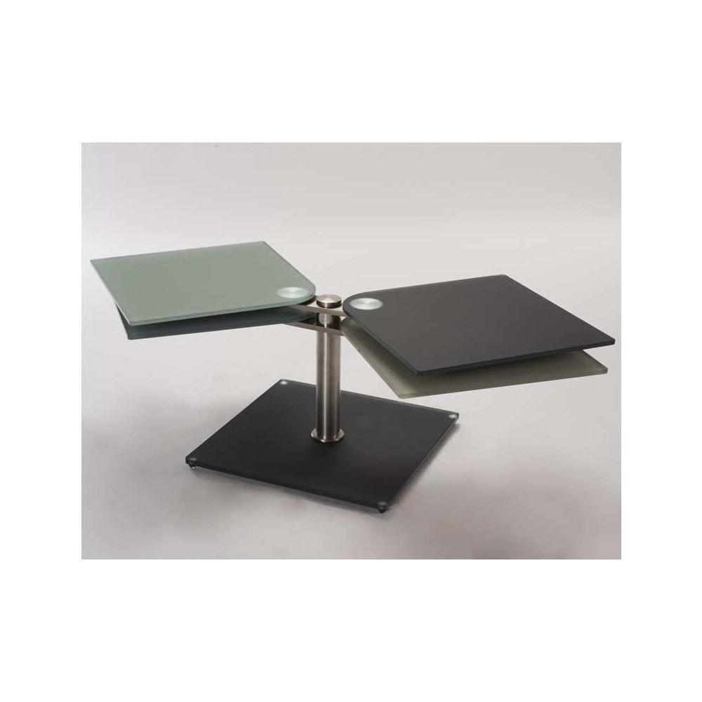 Table basse t trix verre et acier chrom bross - Table basse verre acier ...