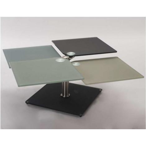 Table basse t trix verre et acier chrom bross for Table basse acier brosse