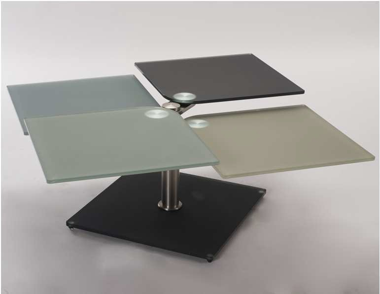 table basse t trix verre et acier chrom bross. Black Bedroom Furniture Sets. Home Design Ideas