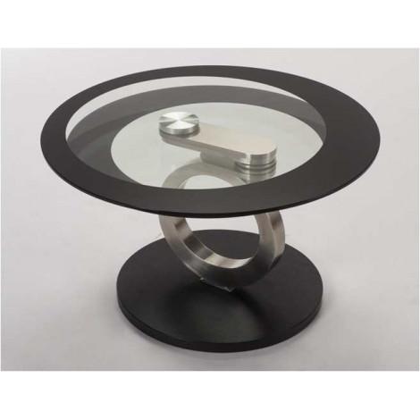 Table basse elypse verre et acier chrom - Table basse acier verre ...