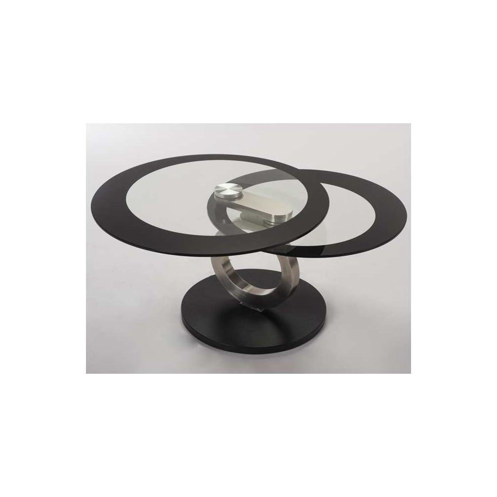 Table basse elypse verre et acier chrom - Table basse verre et acier ...