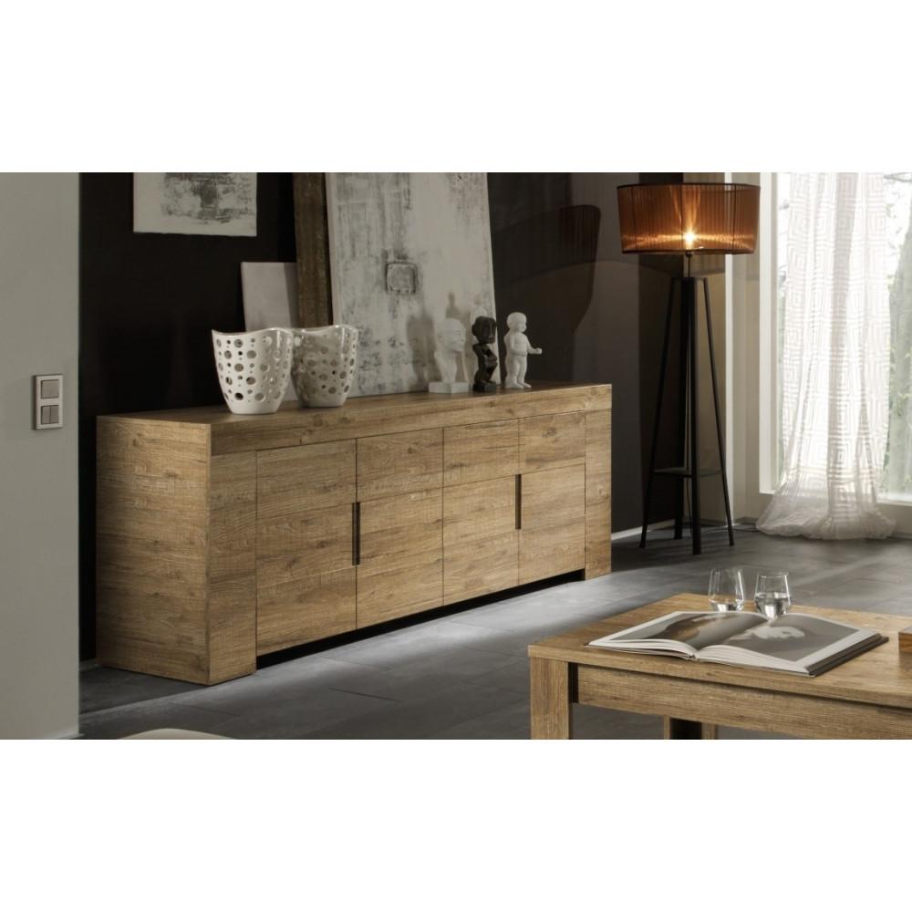 bahut bas moderne en enfilade 4 portes ch ne miel 190 cm. Black Bedroom Furniture Sets. Home Design Ideas