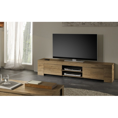 Meuble tv long ch ne 2 portes 1 niche fabriqu en italie for Meuble tv tres long