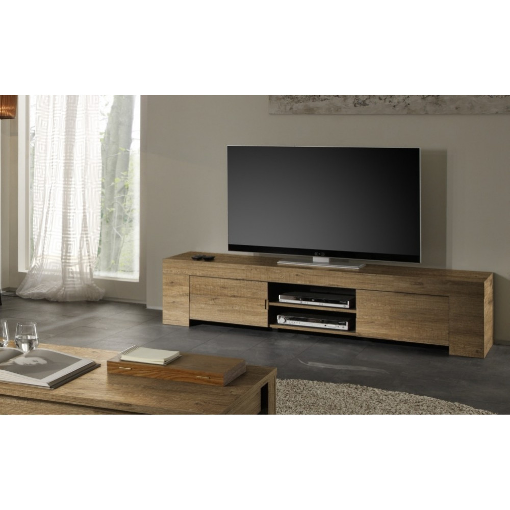 Meuble tv long ch ne 2 portes 1 niche fabriqu en italie for Long meuble tv