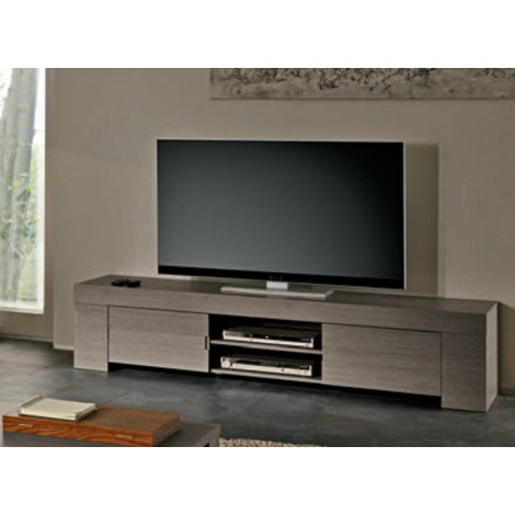 Meuble tv long ch ne gris 2 portes 1 niche fabriqu for Long meuble tv