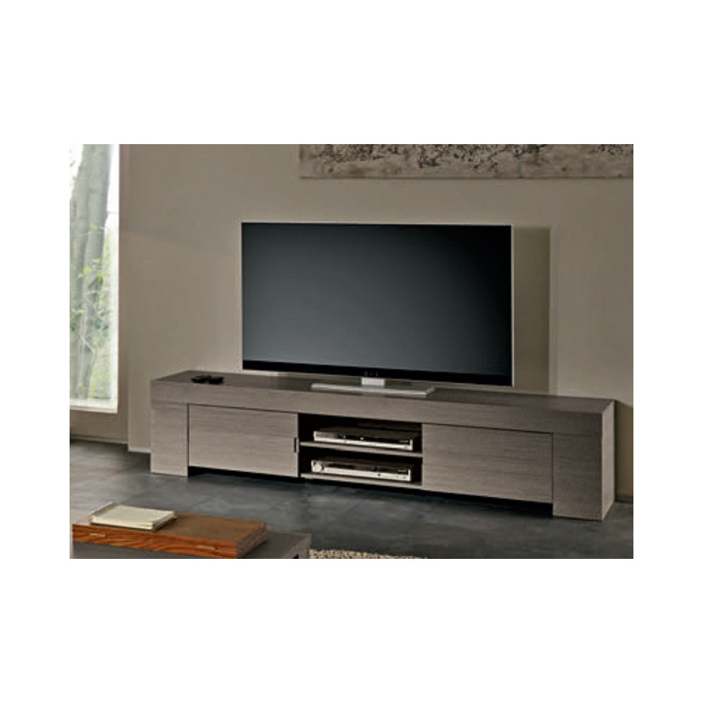 meuble tv long ch ne gris 2 portes 1 niche fabriqu en italie. Black Bedroom Furniture Sets. Home Design Ideas