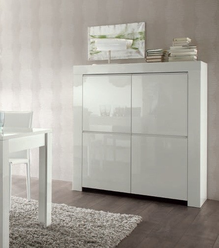 Bahut moderne blanc 120 cm a prix discount for Meuble bar laque blanc