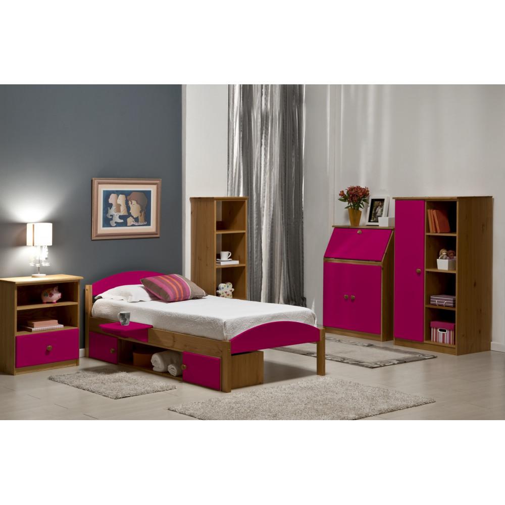 lits pin massif coloris miel antique et fuchsia 90x190 200 cm. Black Bedroom Furniture Sets. Home Design Ideas