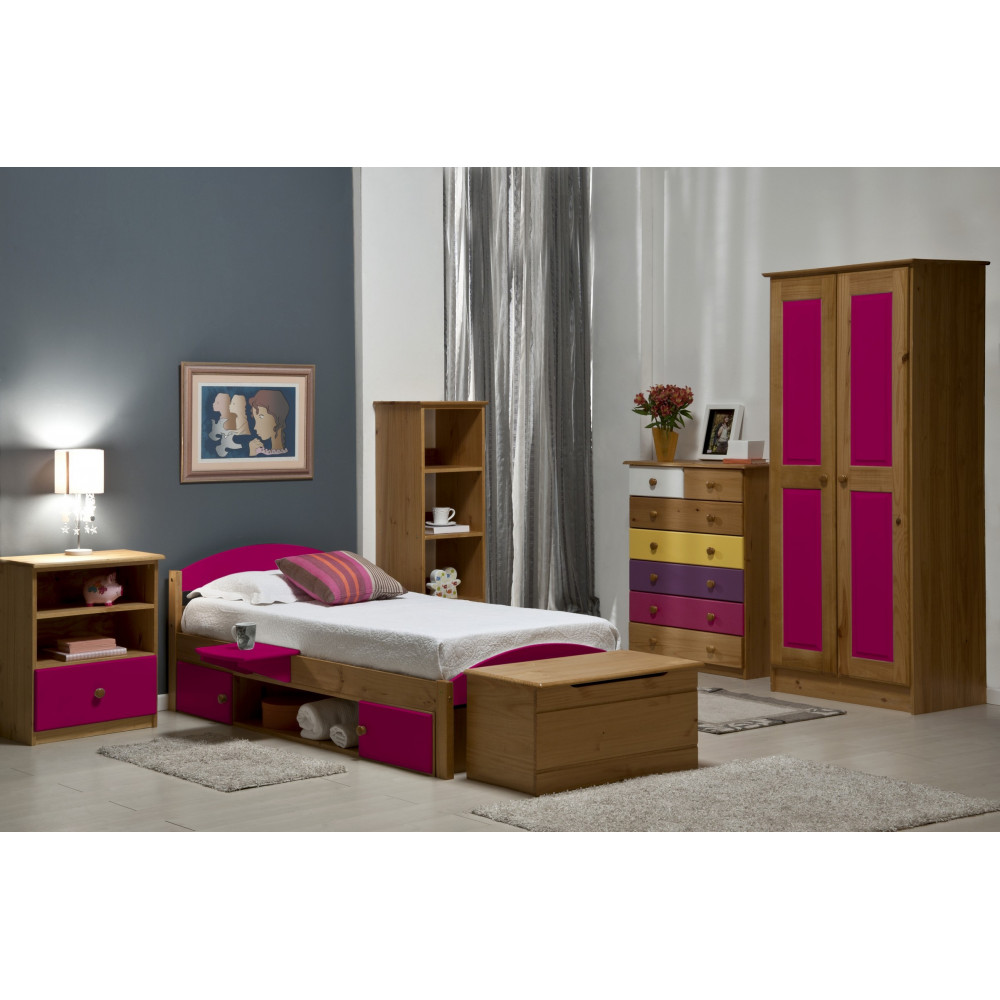 lits pin massif coloris miel antique et fuchsia 90x190 200 cm. Black Bedroom Furniture Sets. Home Design Ideas