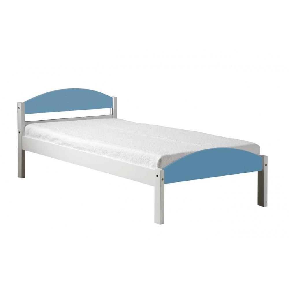 lits pin massif coloris blanc et bleu baby 90x190 200 cm. Black Bedroom Furniture Sets. Home Design Ideas