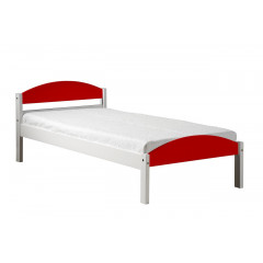 Lit Valy Pin massif 90 x 190 ou 200 cm Blanc et Rouge