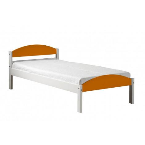 Lit Valy Pin massif  90 x 190 ou 200 cm Blanc et Orange