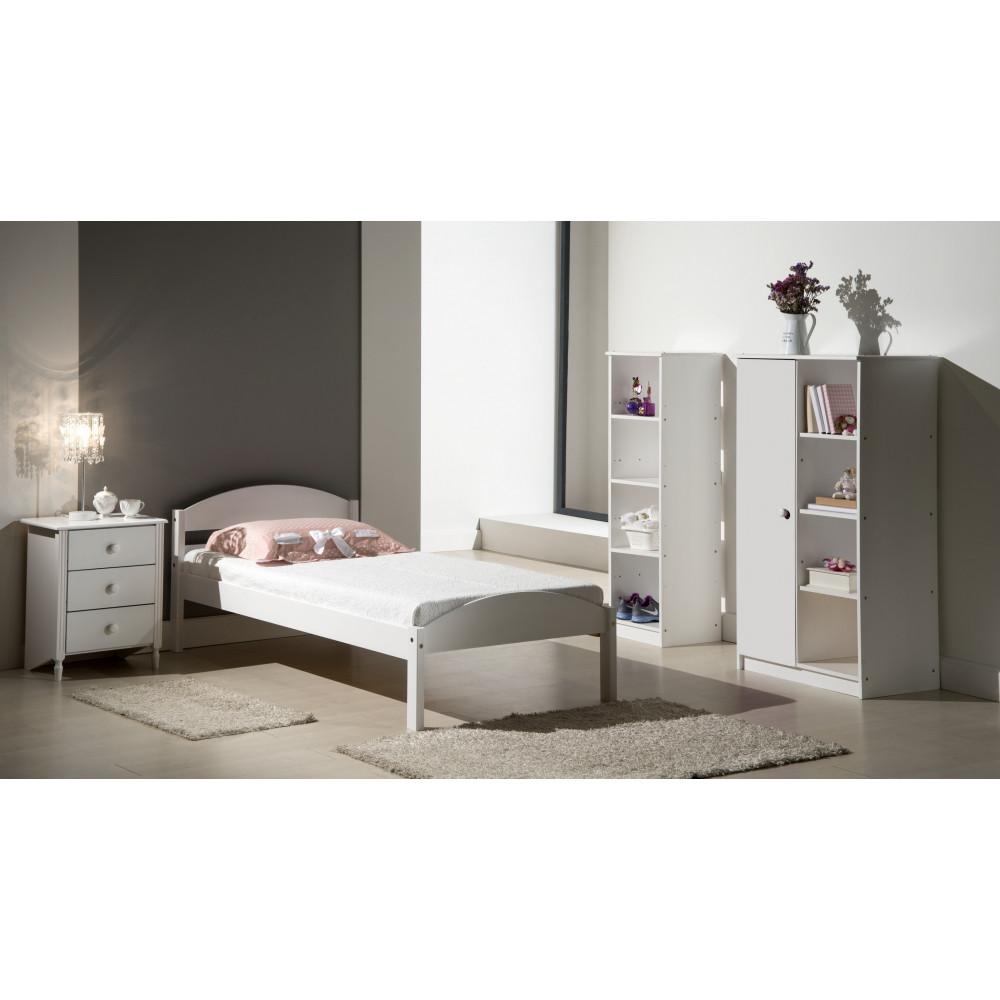 lits pin massif coloris blanc 90x190 200 cm origine europe. Black Bedroom Furniture Sets. Home Design Ideas