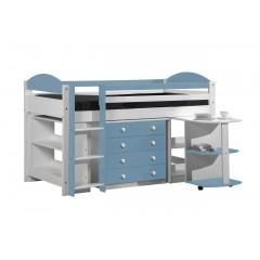 Ensemble lit et meubles intégrés  90x200 Pin massif Blanc et bleu baby