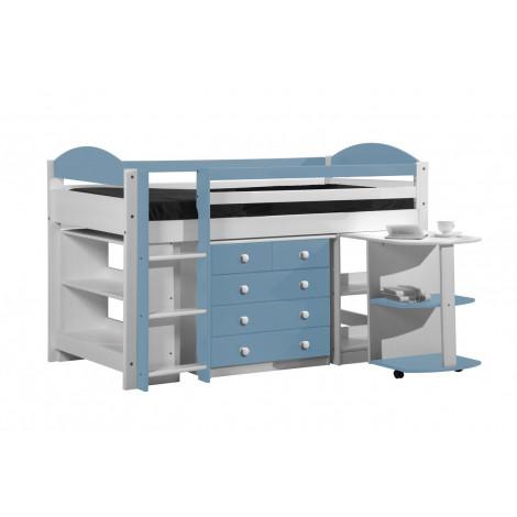 Ensemble lit et meubles intégrés  90x190/200 Pin massif Blanc et bleu baby