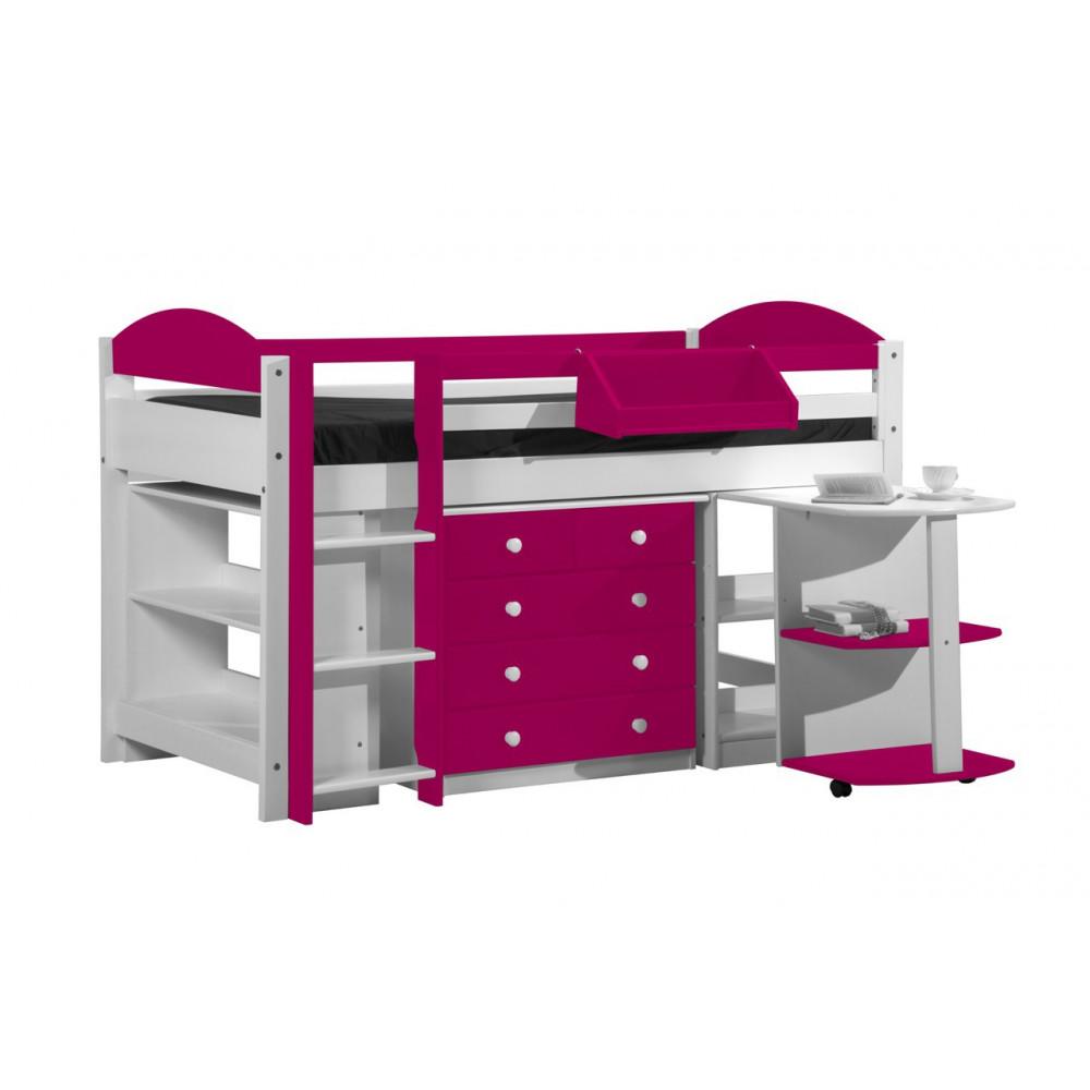 ensemble lit et meubles integres 90x190 90x200 pin massif blanc fuchsia. Black Bedroom Furniture Sets. Home Design Ideas