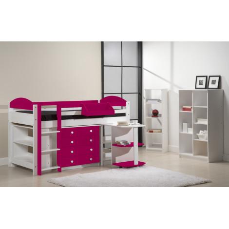 Ensemble lit et meubles intégrés  90x190/200 Pin massif Blanc et Fuchsia
