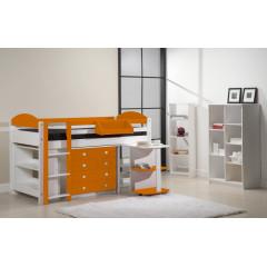 Ensemble lit et meubles intégrés  90x200 Pin massif Blanc et Orange