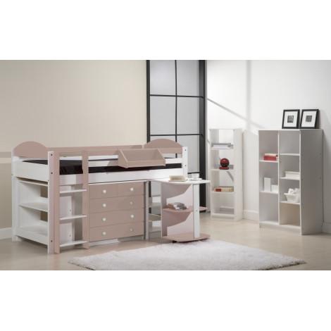 Ensemble lit et meubles intégrés  90x190/200 Pin massif Blanc et Rose