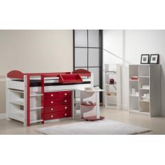 Ensemble lit et meubles intégrés  90x200 Pin massif Blanc et Rouge