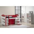 Ensemble lit et meubles intégrés  90x190/200 Pin massif Blanc et Rouge